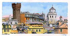 Torre Embriaci (Alessandro Ardy) Tags: genova watercolor tower slate roofs church sky