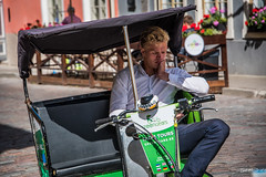 2016 - Baltic Cruise - Tallinn Estonia - Greengears (Ted's photos - For Me & You) Tags: tedsphotos 2016 tallinn tallinnestonia estonia pedicab greengears greengearstallinn canopy bored cropped vignetting taxi