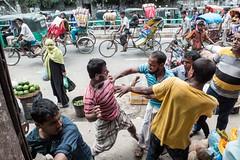 H504_3544 (bandashing) Tags: amborkhana market rickshaw people stalls vegetable vendors street fight scuffle men kickoff violence junction amborkhanapoint punch grab sylhet manchester england bangladesh bandashing aoa socialdocumentary akhtarowaisahmed hijab niqab burkah