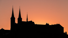 Kloster Michelsberg (MiBro) Tags: bamberg bayern deutschland de sunset sonnenuntergang kirche kloster church orange outline silhouette