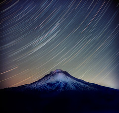 All the colors around the world (Zeb Andrews) Tags: mountain film nature night oregon square landscape skies hasselblad mthood pacificnorthwest startrails bitchilly bluemooncamera nomountainlionsatleast