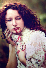 Guilt poured from her red-stained lips (Cameron John Sarradet) Tags: red portrait orange girl beautiful sarah dark photography blood eyes indiana lips cameron emotional conceptual violent guilt loreth sarradet lacesoft