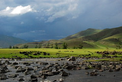 Near the Orkhon waterfall, Mongolia (Marjan de B) Tags: travel vacation sky storm tiara mountains green nature clouds landscape scenery asia empty july hills mongolia centralasia deserted steppe 2012 solace deblaauwpix tiaratours