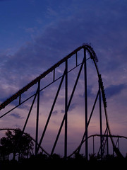 Intimidator (Bob Cornellier) Tags: park blue sunset red train amusement charlotte steel north fast carolina roller tall coaster carowinds intimidator mygearandme