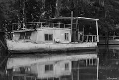 OLD HOUSEBOAT B/W (t.rex7000) Tags: old bw house boat alabama houseboat bayou mobiletensawdelta trex7000 arpub