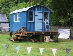 Blue cabin (leedslily) Tags: blue music plant window grass festival wales cabin steps breconbeacons pot ladder caravan corrugated 2012 greenman bunting crickhowell glanuskpark