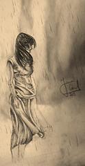 ماذا تقول عن الرحيل ؟ (Yara Gad) Tags: black girl rain shirt clouds pencil hair lost drawing skirt fade winds مطر عاصفة رحيل رسم رصاص ريح سكيتش skatching تعبيري