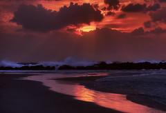 Light Path (NatashaP) Tags: sunset sea sun reflection beach clouds evening israel sand waves dusk stones rays haifa nightfall breakwater platinumheartaward