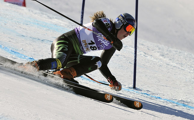 World Cup holder's Lindsey Vonn during a super-giant slalom race