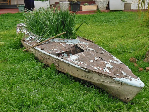 old wooden peeling lawn canoe novelty aged retired frontyard cracked repurposing