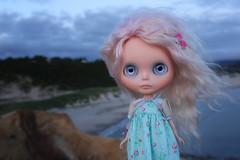 Watching the sun go down... (jessi.bryan) Tags: ocean trip sea vacation beach oregon doll pacificocean blythe capekiwanda gbaby mohairblythe wingsinflight gbabycustom