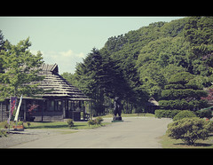 Ainu village of Poroto Kotan (Hokkaido, Japan) (Shanti Basauri) Tags: people lake japan landscape island town hokkaido village native traditional culture  tradition tribe ethnic cultura hokaido ainu japn poroto japonia kotan shiraoi laku  porotokotan