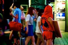 (sinkdd) Tags: japan advertising tokyo costume nikon shibuya ad 85mm devil  nikkor  sandwichboard advertiser streetsnap d7000 shutterlove nikond7000 sinkdd