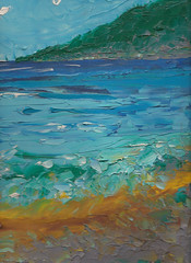 SOUTH BAY BEACH AND SURF, OIL PAINTING (roberthuffstutter) Tags: beach paintings expressionism impressionism justposted beachcities roberthuffstutter huffstuttersart 1960scalifornia robertlhuffstutter positiveandupbeat impressionismart robertsgallery originalsavailable originalartavailable impressionistportfolio studyingimpressionism artandorphotosbyhuffstutter huffstuttersoriginalphotosart southbaywatercolors southbayscenes signedcopiesavailable watercolorsofsouthbay strandwatercolors huffstutterssouthbayart