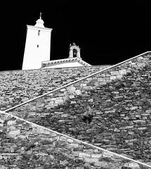 Steps and Chuch, Luarca, Asturias (Fin Wright) Tags: blackandwhite church landscape ian faro mono landscapes spain steps asturias powershot wright farol fin phare luarca fyr g12 faros ianwright fyret   fyrtrn   denizfeneri majakka goleudy   mercusuar finwright finwrightphotographycouk finwrightphotography vuurtor