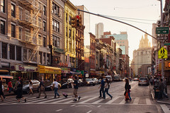 One way, or another. (Linh H. Nguyen) Tags: street light sunset people newyork buildings golden chinatown shadows sony crosswalk rokkorx2828 nex7