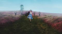 Overcome by enchanted oddities (Deltalex.) Tags: pink blue boy green clock girl field grass hat dark dress time path alice coat magic figure oddities enchanting andimdonewithcomputersandphotoshopfortonight