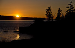 Jones Island Sunset, San Juan Islands (tacoma290) Tags: trees sunset sea vacation sky orange reflection silhouette island nikon pacificnorthwest pugetsound sanjuanislands pnw jonesislandstatepark jonesisland jonesislandsunsetsanjuanislands
