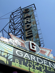 (Shane Henderson) Tags: old sign neon pittsburgh g banner rusty worn northside weathered decrepit distressed fallingapart gardentheater