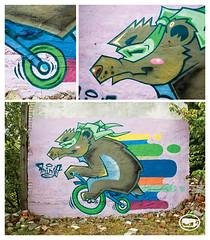 ninja bear (t-ninja) Tags: tninja tnja teeninja t tnj tee t tninjah tag bear mishka wall bicycle bike mask ninjamask ninja ninjah nja graffiti graffitispot graff green gamma fest mdivision flick slckr piece picture slickr slkr
