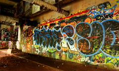 City Art (AlisAquilae) Tags: highway bridge travel underneath under graffiti street artists colors colorful spray paint canal canon canon5dmarkiii