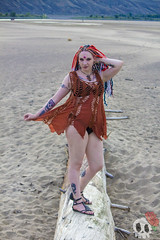 _MG_9650 (Deadly Darling DP) Tags: beach sand nature outdoors dreadlocks gothic goth woman chick tattoos makeup log driftwood tree