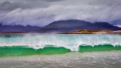 2015 Ske & Harris - Wind and Surf (Birm) Tags: green wave spindrift waves luskentyre isle harris western isles na hearadh beach coast shore hills cloud emerald clear wind surf north