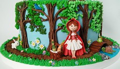 Little Red Riding Hood (Edible Delights) Tags: cute cake woods forest gumpaste fondant bunny turtle frog flowers trees spring garden littleredridinghood basket girl wine bread