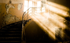 Old Stairs (--Conrad-N--) Tags: go2know fototour hohenlychen lost place hospital beams light stairs abandoned