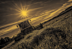 The Wheat (Derek Coull) Tags: sunrise combineharvester harvest tonedblackwhite wheat chapelofgarioch aberdeenshire crop farming sun sunflare