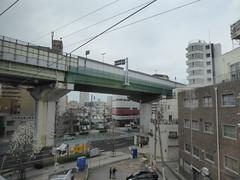 Separate worlds (seikinsou) Tags: japan spring haruka train jr railway kyoto kix kansai airport highway stilt cable