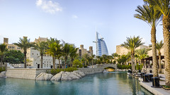 Burj Al-Arab (Mohammadtaqi.com) Tags: leica panorama m9 35mm summilux asph fle dubai uae reflection water souq madinat jumairah souk palms palm tree trees