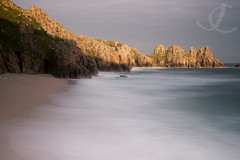 Pedn View (jo clegg) Tags: ocean longexposure sea sunlight beach canon evening coast cornwall eveningsun cliffs atlantic logansrock pednvounder canon5dmarkii