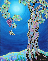 Romance on the Vine 22x28 acrylic Sandi Whetzel (sandiwhetzel) Tags: grapes moonlight grapeleaves surrealistic abstractwineacrylicpainting romanceonthevine manwomanhugginginshapeofagrapevinetrunk romanticwinepairing