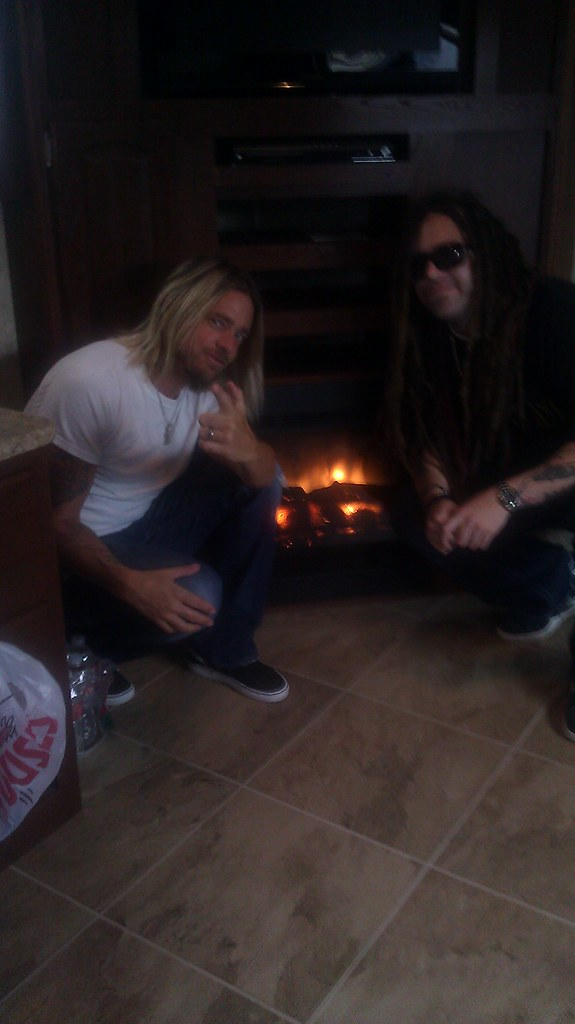 Me and Terry in the dressing room, cozy by the fireplace, in Gulfport, MississippiŠ trying to warm up because  it's a chilly 94 outside!