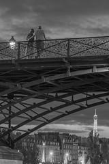 Pont des Arts (marianboulogne) Tags: city nightphotography bridge light sunset sky people blackandwhite bw paris france monochrome river lights mono europa europe shadows noiretblanc sony eiffeltower exp