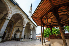 Bosnia-110522-062 (Kelly Cheng) Tags: travel color colour building heritage tourism motif horizontal architecture clouds design daylight colorful europe day pattern arch cloudy outdoor sarajevo minaret bosnia muslim islam religion culture vivid nobody nopeople mosque pavilion colourful islamic bosniaandherzegovina traveldestinations