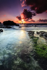 Trevellas Sunset [Explored] (Martin Mattocks (mjm383)) Tags: ocean longexposure pink sunset red sun seascape seaweed reflection green water clouds canon cornwall horizon explore coastline singhray leefilters canoneos5dmarkii cornwalllandscapes mjm383 martinmattocksphotography