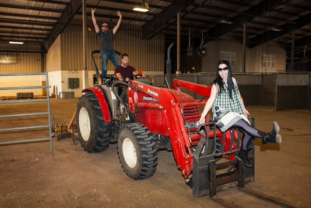 YEEHAW! Amy, Tim and Troy have a little fun backstage at the Midland Horseshoe Arena. Photo Credit: Rob Fenn