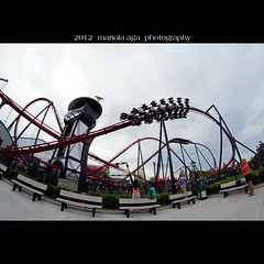 Six Flags ~ Roller Coaster (mariola aga) Tags: park people chicago square fun ride fisheye rollercoaster sixflags greatamerica gurnee thegalaxy