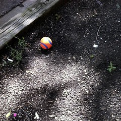 Lost Ball (smaedli) Tags: blue urban orange chicago abstract color ball toy illinois unitedstates objects appleiphone4