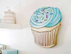 Fresh from the oven...I mean studio!! A new batch of JUMBO diecuts! :) (holiday_jenny) Tags: pink blue cute art kitchen sign cake vintage painting cupcakes handmade chocolate retro cupcake sprinkles bakery homedecor diecut