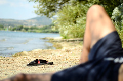 15 August,  cheap way (Sirio Timossi) Tags: trees sleeping shadow summer sky italy lake green nature sand focus shoes break dof lock relaxing august lazy brake relaxed chill slipper lazio selective sirio timossi siriotimossi siriotimossicom