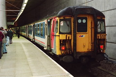 19940115 030 Stansted Airport. Class 309, 309626 Hertfordshire Railtours 'The Clacton Sunset' 1Z09 09.15 to Ely (15038) Tags: electric br trains emu railways britishrail stanstedairport class309 am9 309626