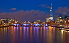 Thames Light (Aubrey Stoll) Tags: street uk windows england london water thames towerbridge canon reflections river lights britain capital bluehour shard cityoflondon southwarkbridge banksidepier