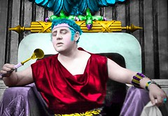 The Roman Emperor Nero Admires Himself in the Mirror (Walker Dukes) Tags: california blue red orange black television yellow gold interesting king purple eagle feathers young magenta hollywood actor cloak marble dictator tcm throne turnerclassicmovies narcistic narcist oldmovies oldhollywood abigfave televisionshot