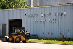 Milt's Body Shop (Dean Gulstad) Tags: summer usa color minnesota june buildings midwest day unitedstates outdoor availablelight signage northamerica dawson mn 2009 smalltown digitalimage nikond90 nikkor18105mm lacquiparlecounty