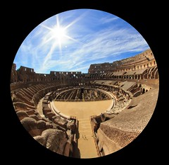 Colosseum Fisheye [Explore - thank you!!] (Maria_Globetrotter) Tags: italy sun rome roma church architecture coin ancient europa europe day catholic cloudy roman euro amphitheatre eu engineering landmark tourist unesco fisheye colosseum empire flavio classical coliseum iconic colloseum mythology rom unescoworldheritage attraction worldheritage titus colosseo coliseu whs anfiteatro coloseum elliptical antike colise vespasian kolosseum flavian fivecent baukunst antiken 550d flavium  amphitheatrum vrldsarv itali
