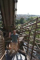 climbing down the Eiffel Tower