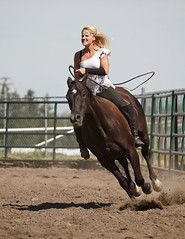 Bareback Rider (pwvisuals ) Tags: horse woman canada creek canon hair bareback eos cowboy boots riding blond alberta 7d whip rodeo rider pincher whisperer pwvisuals